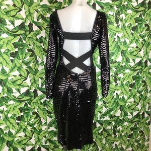 5 for $25 Vintage Black Sequined Open Back Dress